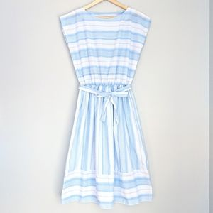 Vintage 1980s Blue and White Stripe Dress